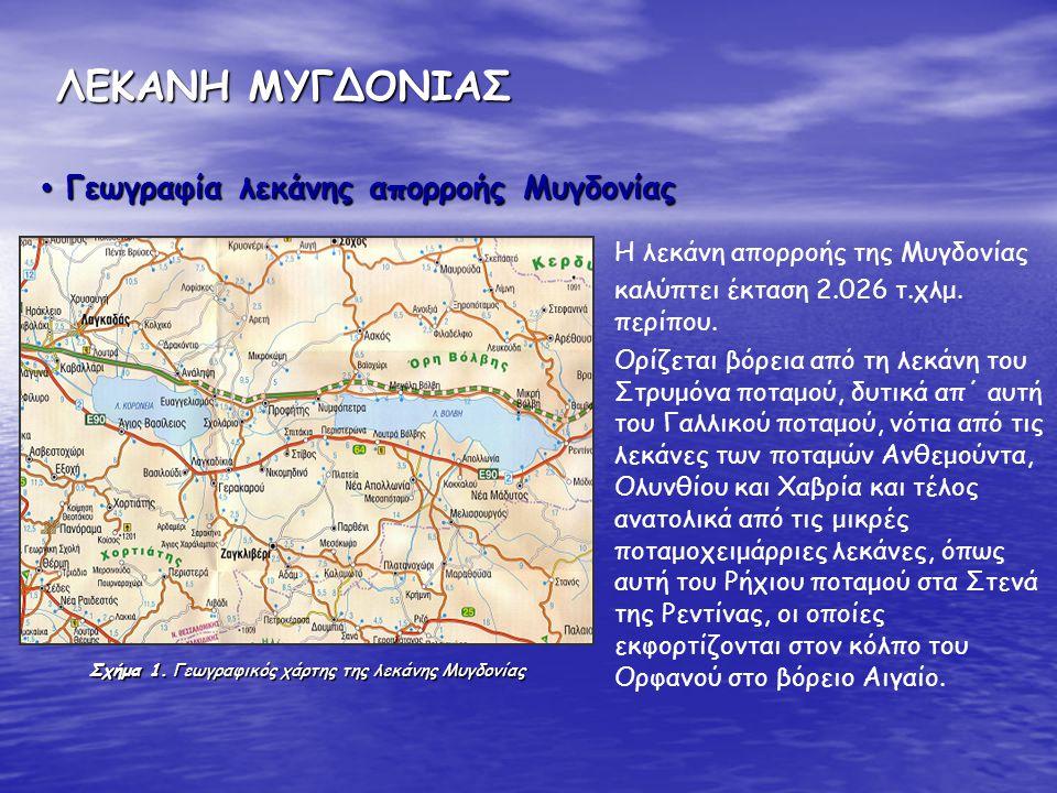 ΛΕΚΑΝΗ ΜΥΓΔΟΝΙΑΣ Σχήμα 1. Γεωγραφικός χάρτης της λεκάνης Μυγδονίας Η λεκάνη απορροής της Μυγδονίας καλύπτει έκταση 2.026 τ.χλμ. περίπου. Ορίζεται βόρε