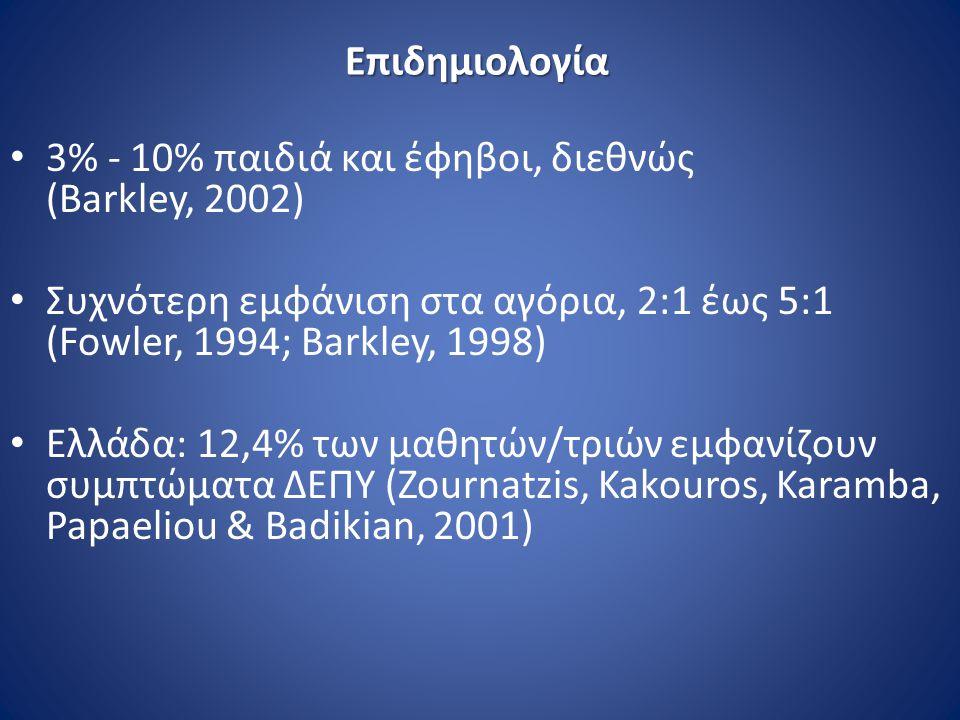 Επιδημιολογία 3% - 10% παιδιά και έφηβοι, διεθνώς (Barkley, 2002) Συχνότερη εμφάνιση στα αγόρια, 2:1 έως 5:1 (Fowler, 1994; Barkley, 1998) Ελλάδα: 12,