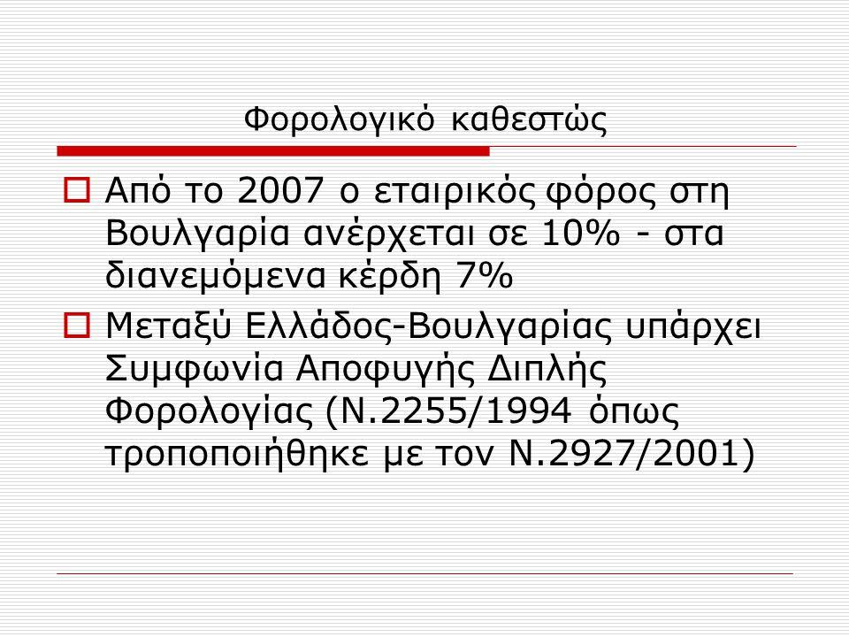 Φορολογικό καθεστώς  Από το 2007 ο εταιρικός φόρος στη Βουλγαρία ανέρχεται σε 10% - στα διανεμόμενα κέρδη 7%  Μεταξύ Ελλάδος-Βουλγαρίας υπάρχει Συμφωνία Αποφυγής Διπλής Φορολογίας (Ν.2255/1994 όπως τροποποιήθηκε με τον Ν.2927/2001)