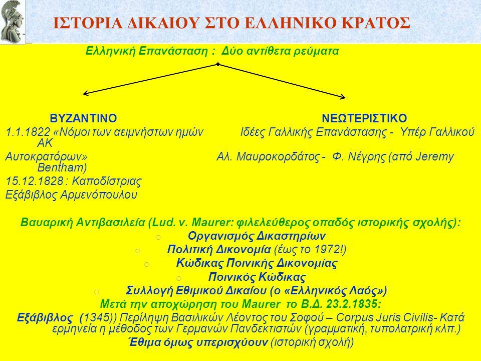 ΙΣΤΟΡΙΑ ΔΙΚΑΙΟΥ ΣΤΟ ΕΛΛΗΝΙΚΟ ΚΡΑΤΟΣ Ελληνική Επανάσταση : Δύο αντίθετα ρεύματα ΒΥΖΑΝΤΙΝΟ ΝΕΩΤΕΡΙΣΤΙΚΟ 1.1.1822 «Νόμοι των αειμνήστων ημών Ιδέες Γαλλικ