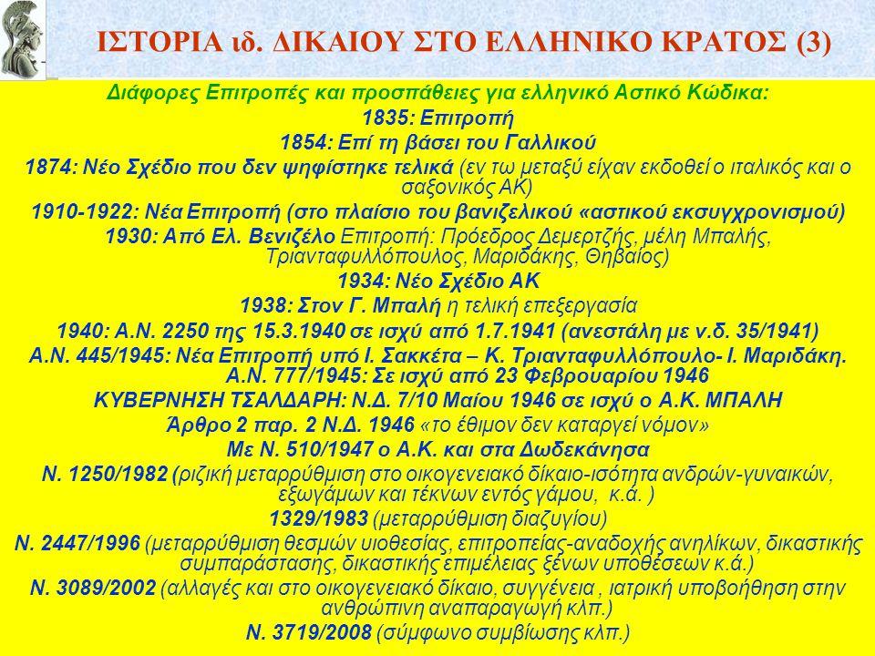 ΙΣΤΟΡΙΑ ιδ. ΔΙΚΑΙΟΥ ΣΤΟ ΕΛΛΗΝΙΚΟ ΚΡΑΤΟΣ (3) Διάφορες Επιτροπές και προσπάθειες για ελληνικό Αστικό Κώδικα: 1835: Επιτροπή 1854: Επί τη βάσει του Γαλλι