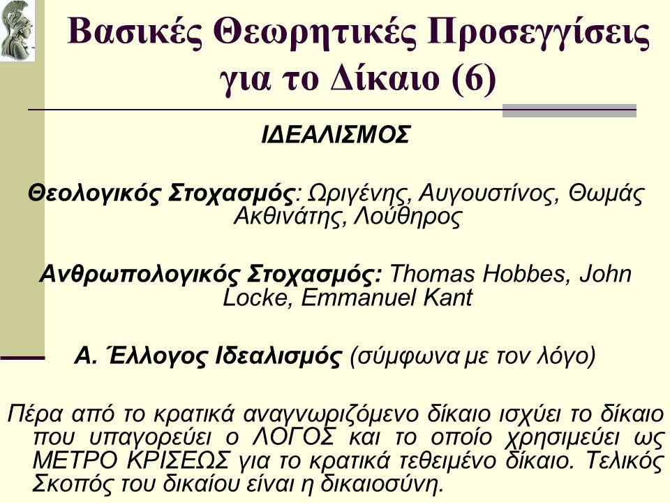 Βασικές Θεωρητικές Προσεγγίσεις για το Δίκαιο (6) ΙΔΕΑΛΙΣΜΟΣ Θεολογικός Στοχασμός: Ωριγένης, Αυγουστίνος, Θωμάς Ακθινάτης, Λούθηρος Ανθρωπολογικός Στο