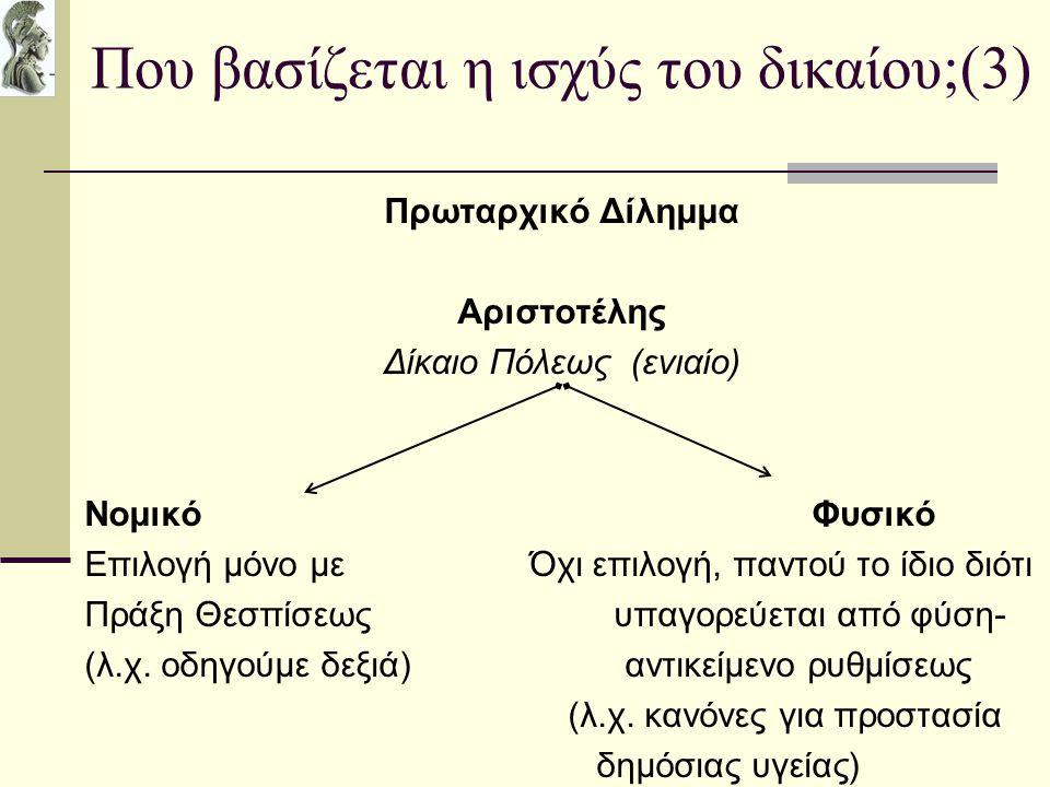 Που βασίζεται η ισχύς του δικαίου;(3) Πρωταρχικό Δίλημμα Αριστοτέλης Δίκαιο Πόλεως (ενιαίο) Νομικό Φυσικό Επιλογή μόνο με Όχι επιλογή, παντού το ίδιο