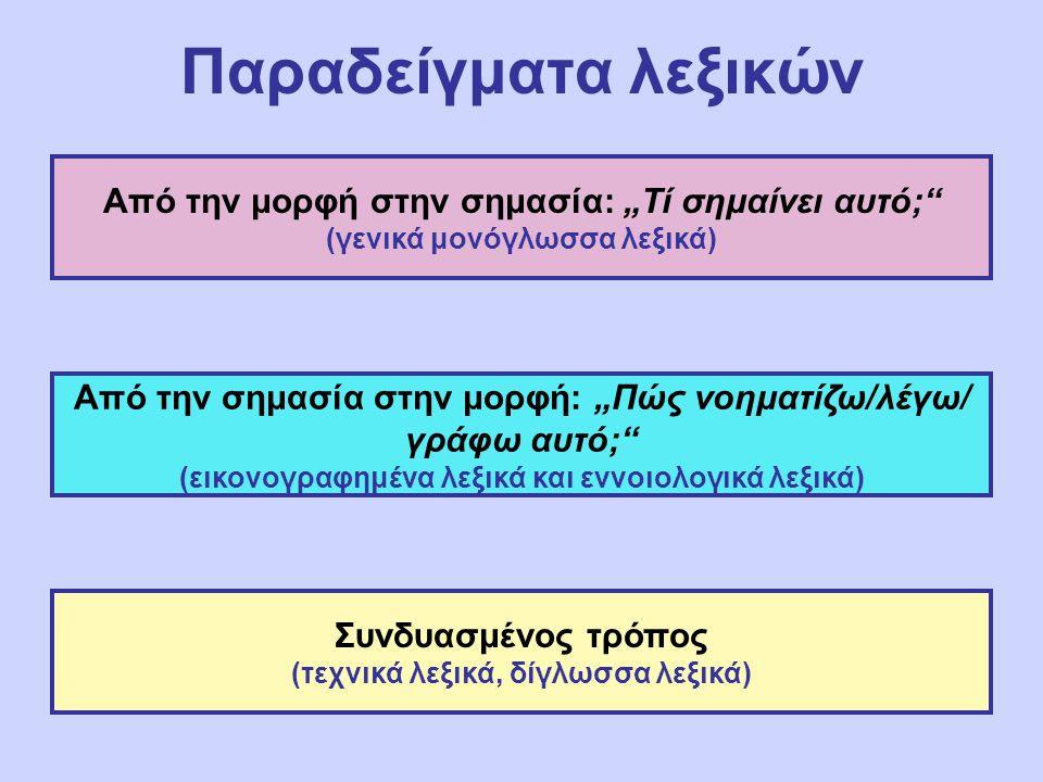 """Παραδείγματα λεξικών Από την μορφή στην σημασία: """"Τί σημαίνει αυτό;"""" (γενικά μονόγλωσσα λεξικά) Από την σημασία στην μορφή: """"Πώς νοηματίζω/λέγω/ γράφω"""