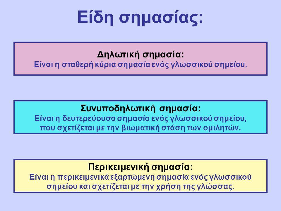 Είδη σημασίας: Δηλωτική σημασία: Είναι η σταθερή κύρια σημασία ενός γλωσσικού σημείου. Συνυποδηλωτική σημασία: Είναι η δευτερεύουσα σημασία ενός γλωσσ
