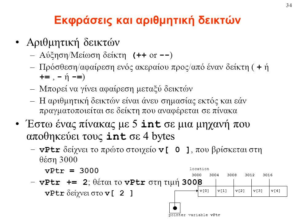34 Εκφράσεις και αριθμητική δεικτών Αριθμητική δεικτών –Αύξηση/Μείωση δείκτη (++ or -- ) –Πρόσθεση/αφαίρεση ενός ακεραίου προς/από έναν δείκτη ( + ή +