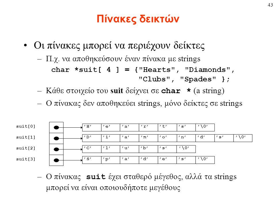 43 Πίνακες δεικτών Οι πίνακες μπορεί να περιέχουν δείκτες –Π.χ. να αποθηκεύσουν έναν πίνακα με strings char *suit[ 4 ] = {