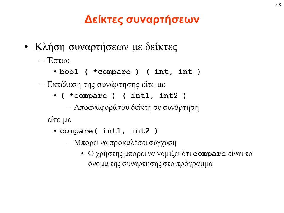 45 Δείκτες συναρτήσεων Κλήση συναρτήσεων με δείκτες –Έστω: bool ( *compare ) ( int, int ) –Εκτέλεση της συνάρτησης είτε με ( *compare ) ( int1, int2 )