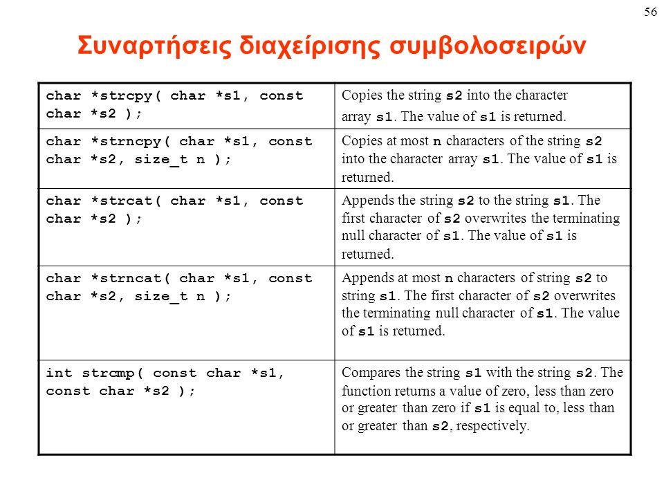 56 Συναρτήσεις διαχείρισης συμβολοσειρών char *strcpy( char *s1, const char *s2 ); Copies the string s2 into the character array s1. The value of s1 i