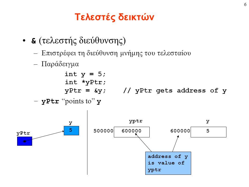 6 Τελεστές δεικτών & (τελεστής διεύθυνσης) –Επιστρέφει τη διεύθυνση μνήμης του τελεσταίου –Παράδειγμα int y = 5; int *yPtr; yPtr = &y; // yPtr gets ad
