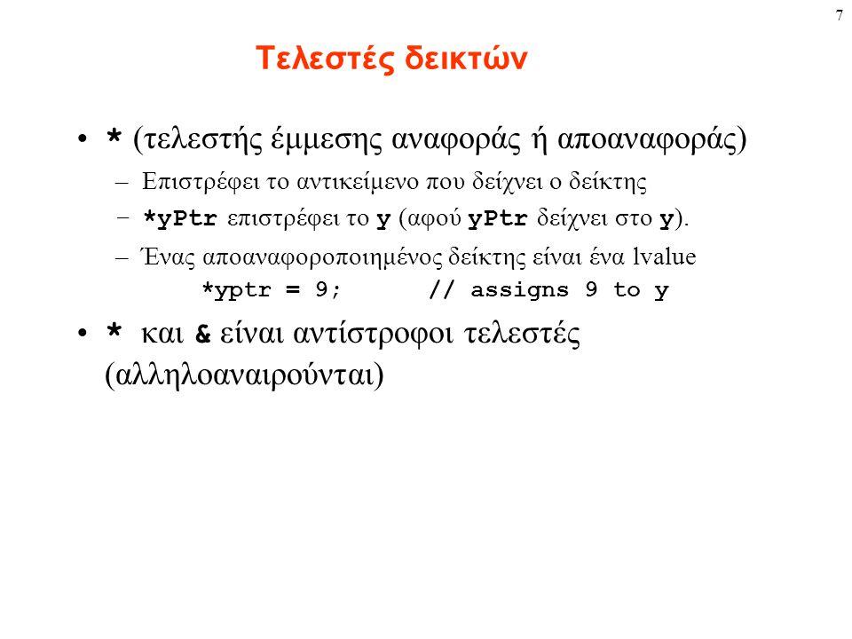 7 Τελεστές δεικτών * (τελεστής έμμεσης αναφοράς ή αποαναφοράς) –Επιστρέφει το αντικείμενο που δείχνει ο δείκτης –*yPtr επιστρέφει το y (αφού yPtr δείχ