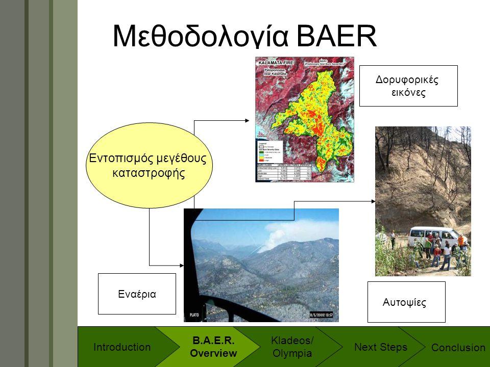 Technology & Development Program Μεθοδολογία BAER Εντοπισμός μεγέθους καταστροφής Δορυφορικές εικόνες Αυτοψίες Εναέρια Conclusion B.A.E.R. Overview In
