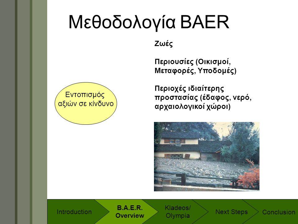 Technology & Development Program Μεθοδολογία BAER Εντοπισμός αξιών σε κίνδυνο Ζωές Περιουσίες (Οικισμοί, Μεταφορές, Υποδομές) Περιοχές ιδιαίτερης προσ