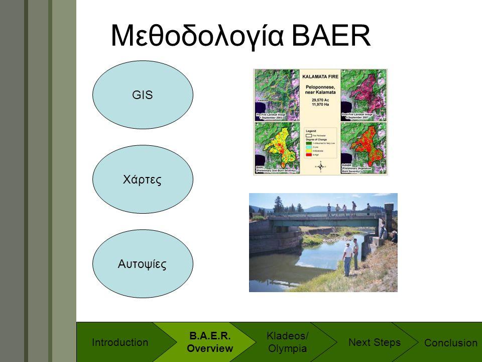 Technology & Development Program Μεθοδολογία BAER GIS Χάρτες Αυτοψίες Conclusion B.A.E.R. Overview Introduction Kladeos/ Olympia Next Steps