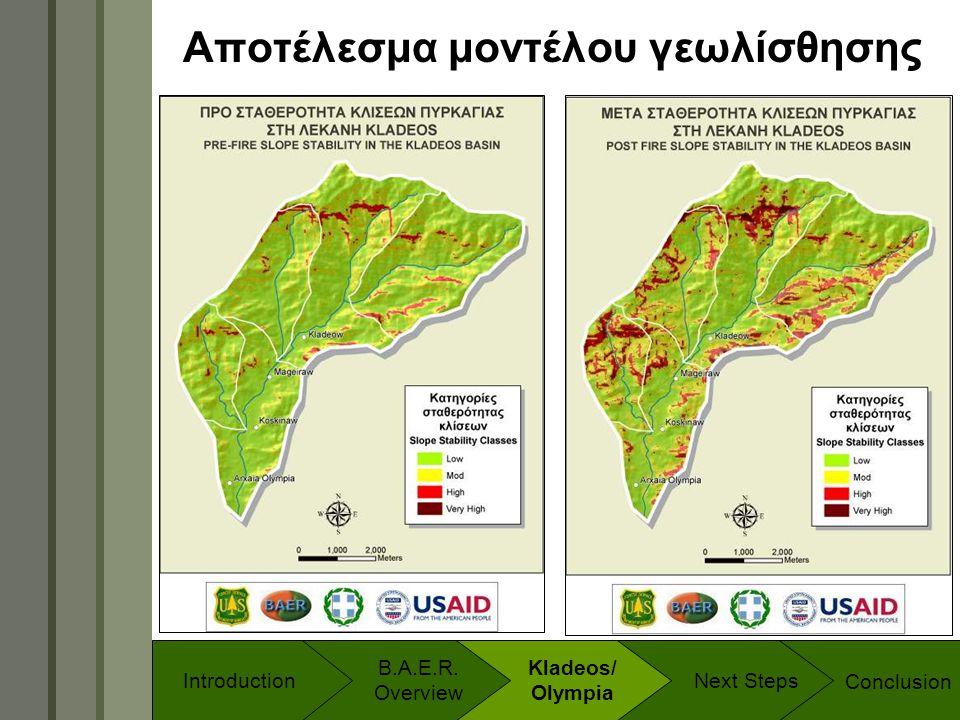 Technology & Development Program Αποτέλεσμα μοντέλου γεωλίσθησης Conclusion B.A.E.R. Overview Introduction Kladeos/ Olympia Next Steps