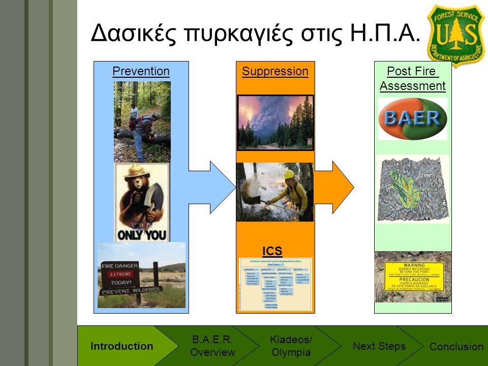 Technology & Development Program Prevention Δασικές πυρκαγιές στις Η.Π.Α. SuppressionPost Fire Assessment ICS Conclusion B.A.E.R. Overview Introductio