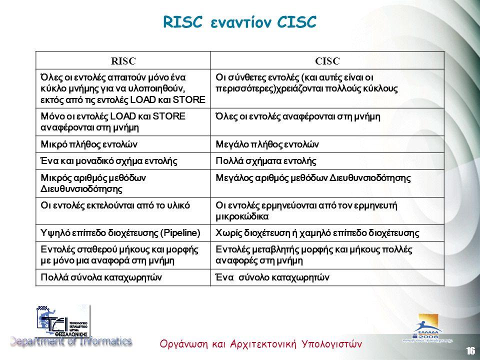 16 Οργάνωση και Αρχιτεκτονική Υπολογιστών RISC εναντίον CISC RISCCISC Όλες οι εντολές απαιτούν μόνο ένα κύκλο μνήμης για να υλοποιηθούν, εκτός από τις εντολές LOAD και STORE Οι σύνθετες εντολές (και αυτές είναι οι περισσότερες)χρειάζονται πολλούς κύκλους Μόνο οι εντολές LOAD και STORE αναφέρονται στη μνήμη Όλες οι εντολές αναφέρονται στη μνήμη Μικρό πλήθος εντολώνΜεγάλο πλήθος εντολών Ένα και μοναδικό σχήμα εντολήςΠολλά σχήματα εντολής Μικρός αριθμός μεθόδων Διευθυνσιοδότησης Μεγάλος αριθμός μεθόδων Διευθυνσιοδότησης Οι εντολές εκτελούνται από το υλικόΟι εντολές ερμηνεύονται από τoν ερμηνευτή μικροκώδικα Υψηλό επίπεδο διοχέτευσης (Pipeline)Χωρίς διοχέτευση ή χαμηλό επίπεδο διοχέτευσης Εντολές σταθερού μήκους και μορφής με μόνο μια αναφορά στη μνήμη Εντολές μεταβλητής μορφής και μήκους πολλές αναφορές στη μνήμη Πολλά σύνολα καταχωρητώνΈνα σύνολο καταχωρητών