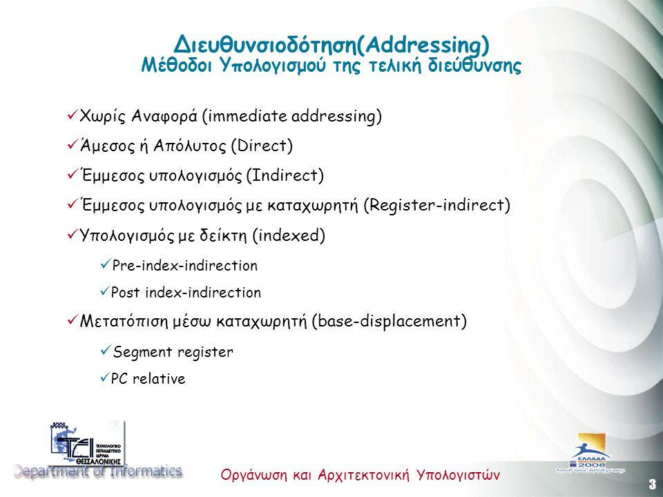 3 Οργάνωση και Αρχιτεκτονική Υπολογιστών Διευθυνσιοδότηση(Addressing) Μέθοδοι Υπολογισμού της τελική διεύθυνσης Χωρίς Αναφορά (immediate addressing) Άμεσος ή Απόλυτος (Direct) Έμμεσος υπολογισμός (Indirect) Έμμεσος υπολογισμός με καταχωρητή (Register-indirect) Υπολογισμός με δείκτη (indexed) Pre-index-indirection Post index-indirection Μετατόπιση μέσω καταχωρητή (base-displacement) Segment register PC relative