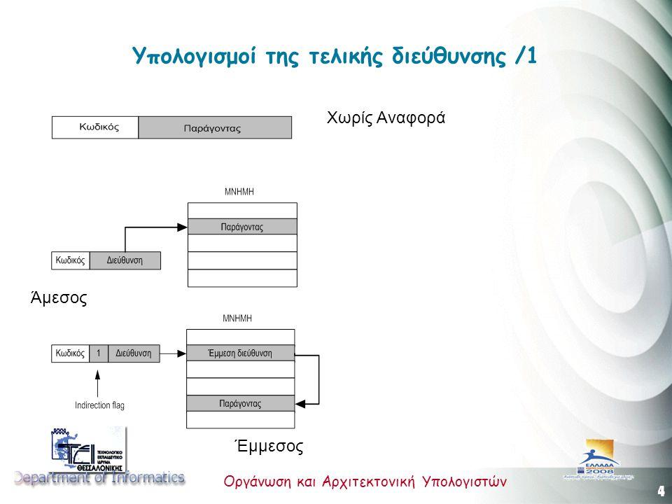 4 Οργάνωση και Αρχιτεκτονική Υπολογιστών Υπολογισμοί της τελικής διεύθυνσης /1 Άμεσος Έμμεσος Χωρίς Αναφορά