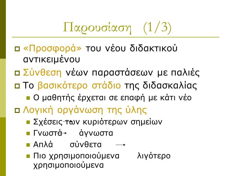 Παρουσίαση (1/3)  «Προσφορά» του νέου διδακτικού αντικειμένου  Σύνθεση νέων παραστάσεων με παλιές  Το βασικότερο στάδιο της διδασκαλίας Ο μαθητής έρχεται σε επαφή με κάτι νέο  Λογική οργάνωση της ύλης Σχέσεις των κυριότερων σημείων Γνωστά άγνωστα Απλά σύνθετα Πιο χρησιμοποιούμενα λιγότερο χρησιμοποιούμενα