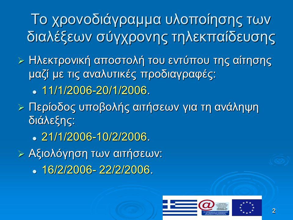 2 Το χρονοδιάγραμμα υλοποίησης των διαλέξεων σύγχρονης τηλεκπαίδευσης  Ηλεκτρονική αποστολή του εντύπου της αίτησης μαζί με τις αναλυτικές προδιαγραφές: 11/1/2006-20/1/2006.