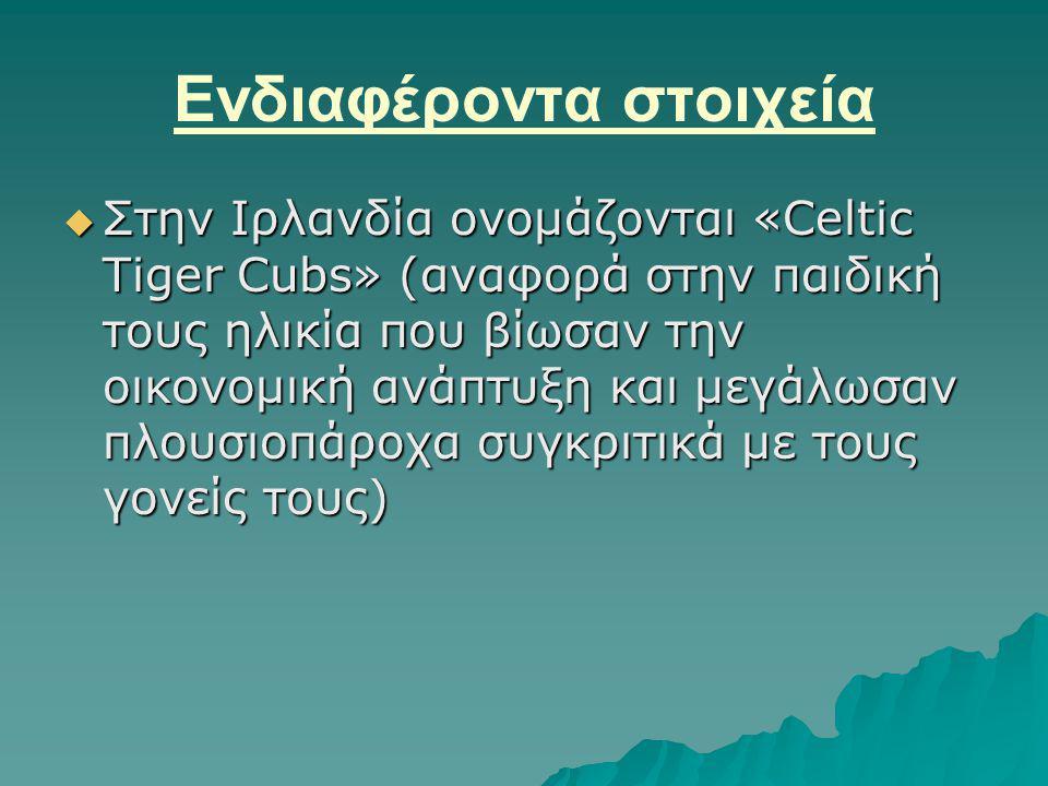 Ενδιαφέροντα στοιχεία  Στην Ιρλανδία ονομάζονται «Celtic Tiger Cubs» (αναφορά στην παιδική τους ηλικία που βίωσαν την οικονομική ανάπτυξη και μεγάλωσαν πλουσιοπάροχα συγκριτικά με τους γονείς τους)