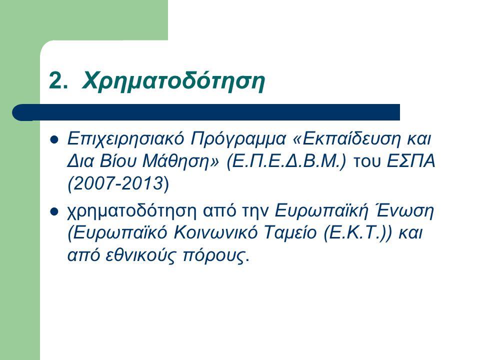 2. Χρηματοδότηση Επιχειρησιακό Πρόγραμμα «Εκπαίδευση και Δια Βίου Μάθηση» (Ε.Π.Ε.Δ.Β.Μ.) του ΕΣΠΑ (2007-2013) χρηματοδότηση από την Ευρωπαϊκή Ένωση (Ε