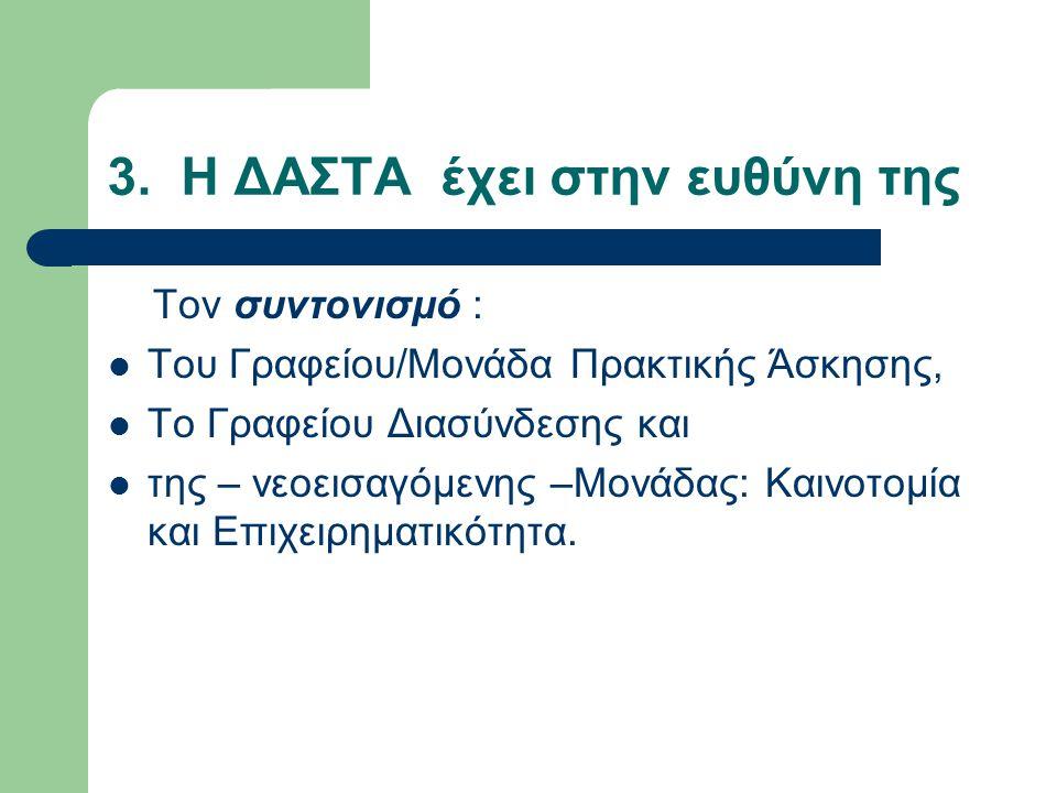 3. Η ΔΑΣΤΑ έχει στην ευθύνη της Τον συντονισμό : Του Γραφείου/Μονάδα Πρακτικής Άσκησης, Το Γραφείου Διασύνδεσης και της – νεοεισαγόμενης –Μονάδας: Και