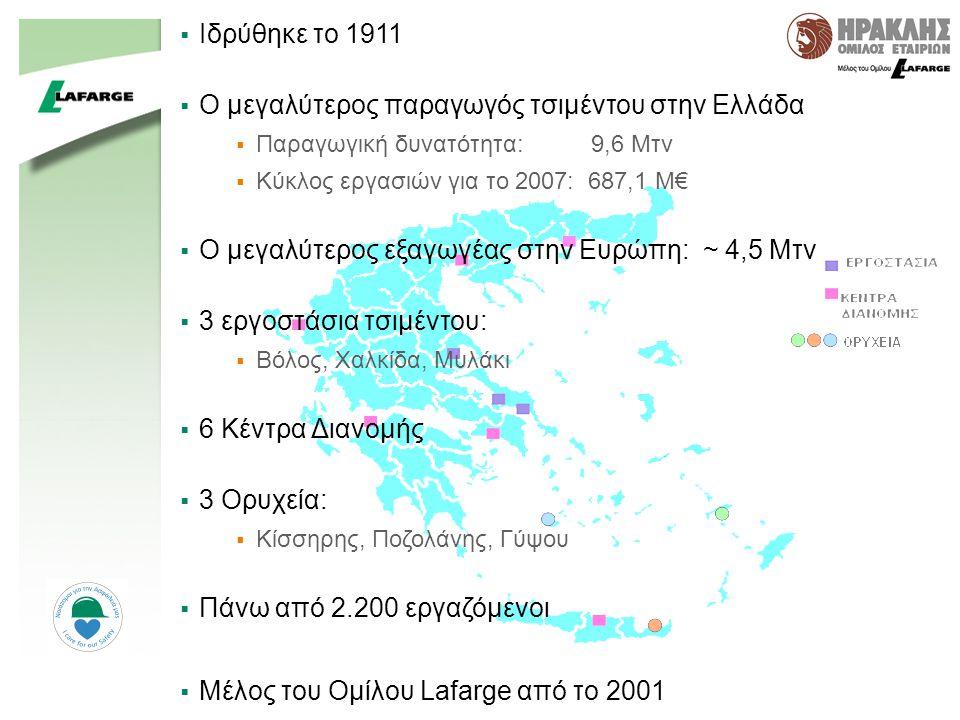 44  Ιδρύθηκε το 1911  Ο μεγαλύτερος παραγωγός τσιμέντου στην Ελλάδα  Παραγωγική δυνατότητα: 9,6 Mτν  Κύκλος εργασιών για το 2007: 687,1 M€  Ο μεγαλύτερος εξαγωγέας στην Ευρώπη: ~ 4,5 Mτν  3 εργοστάσια τσιμέντου:  Βόλος, Χαλκίδα, Μυλάκι  6 Κέντρα Διανομής  3 Ορυχεία:  Κίσσηρης, Ποζολάνης, Γύψου  Πάνω από 2.200 εργαζόμενοι  Μέλος του Ομίλου Lafarge από το 2001