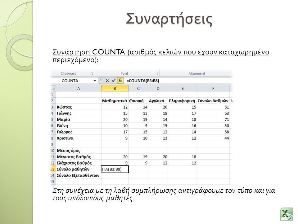 Συναρτήσεις Συνάρτηση COUNTA ( αριθμός κελιών που έχουν καταχωρημένο περιεχόμενο ): Στη συνέχεια με τη λαβή συμπλήρωσης αντιγράφουμε τον τύπο και για