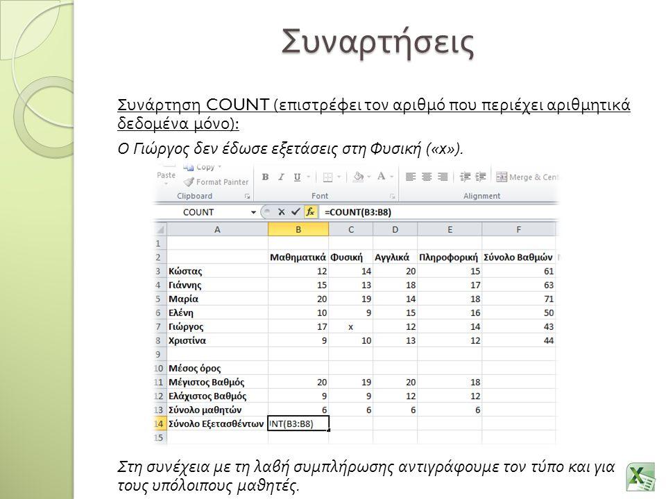 Συναρτήσεις Συνάρτηση COUNT ( επιστρέφει τον αριθμό που περιέχει αριθμητικά δεδομένα μόνο ): Ο Γιώργος δεν έδωσε εξετάσεις στη Φυσική («x»). Στη συνέχ