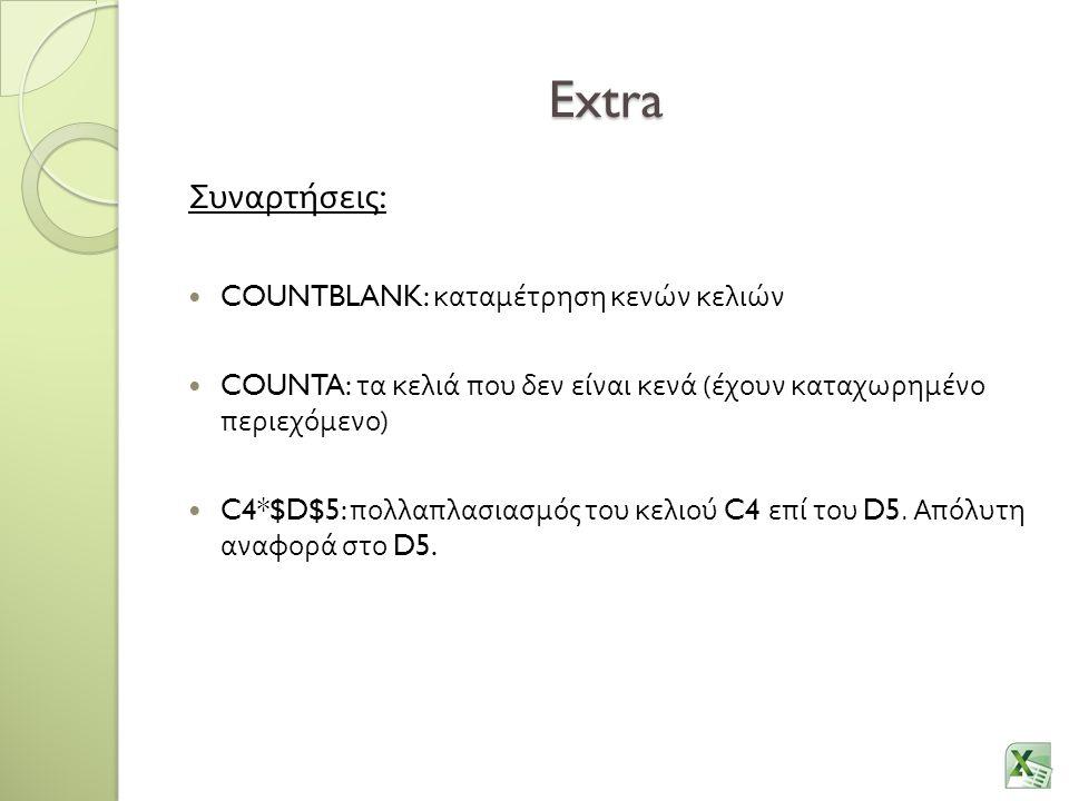 Extra Συναρτήσεις : COUNTBLANK: καταμέτρηση κενών κελιών COUNTA: τα κελιά που δεν είναι κενά ( έχουν καταχωρημένο περιεχόμενο ) C4*$D$5: πολλαπλασιασμ