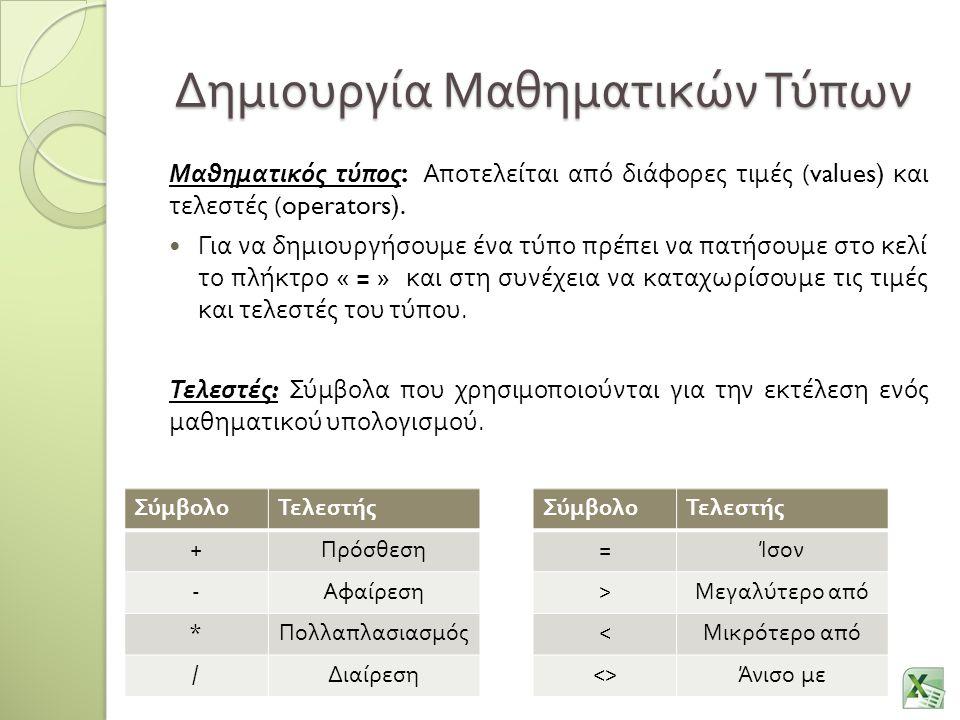 Δημιουργία Μαθηματικών Τύπων Μαθηματικός τύπος : Αποτελείται από διάφορες τιμές (values) και τελεστές (operators). Για να δημιουργήσουμε ένα τύπο πρέπ