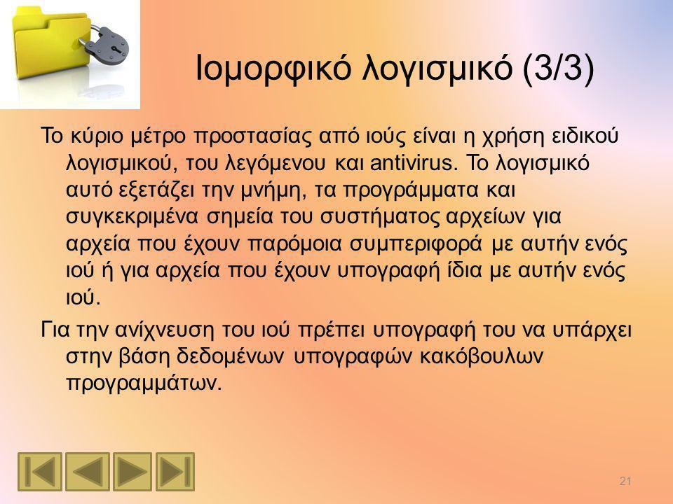 Ιομορφικό λογισμικό (3/3) Το κύριο μέτρο προστασίας από ιούς είναι η χρήση ειδικού λογισμικού, του λεγόμενου και antivirus.