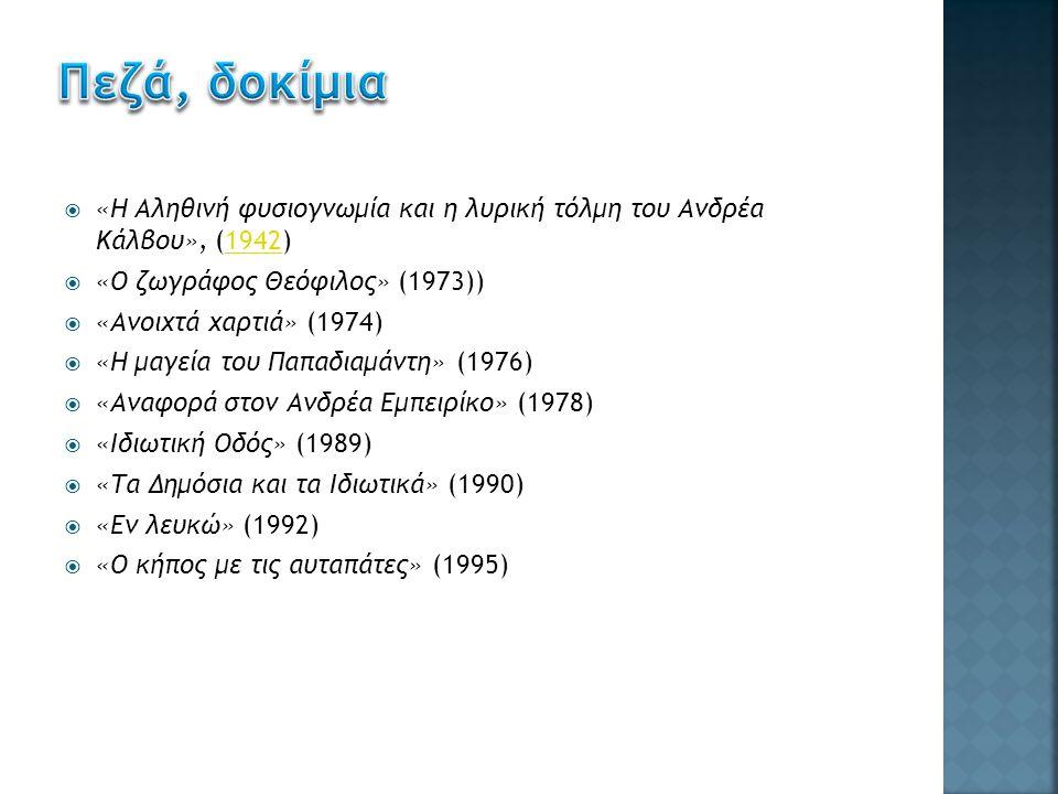  «Η Αληθινή φυσιογνωμία και η λυρική τόλμη του Ανδρέα Κάλβου», (1942)1942  «Ο ζωγράφος Θεόφιλος» (1973))  «Ανοιχτά χαρτιά» (1974)  «Η μαγεία του Παπαδιαμάντη» (1976)  «Αναφορά στον Ανδρέα Εμπειρίκο» (1978)  «Ιδιωτική Οδός» (1989)  «Τα Δημόσια και τα Ιδιωτικά» (1990)  «Εν λευκώ» (1992)  «Ο κήπος με τις αυταπάτες» (1995)