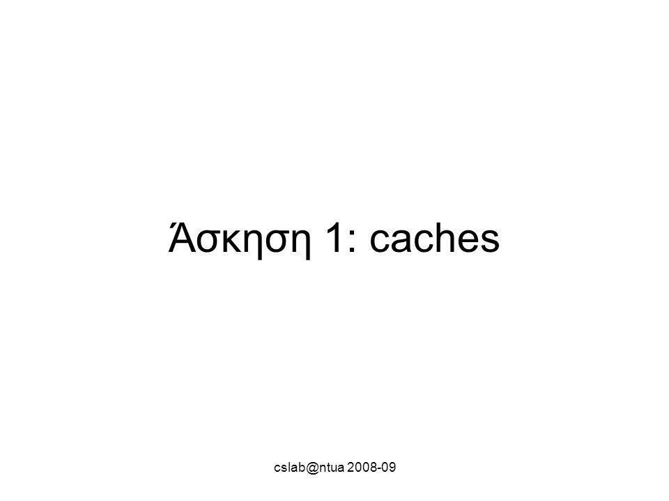 cslab@ntua 2008-09 Άσκηση 1: caches