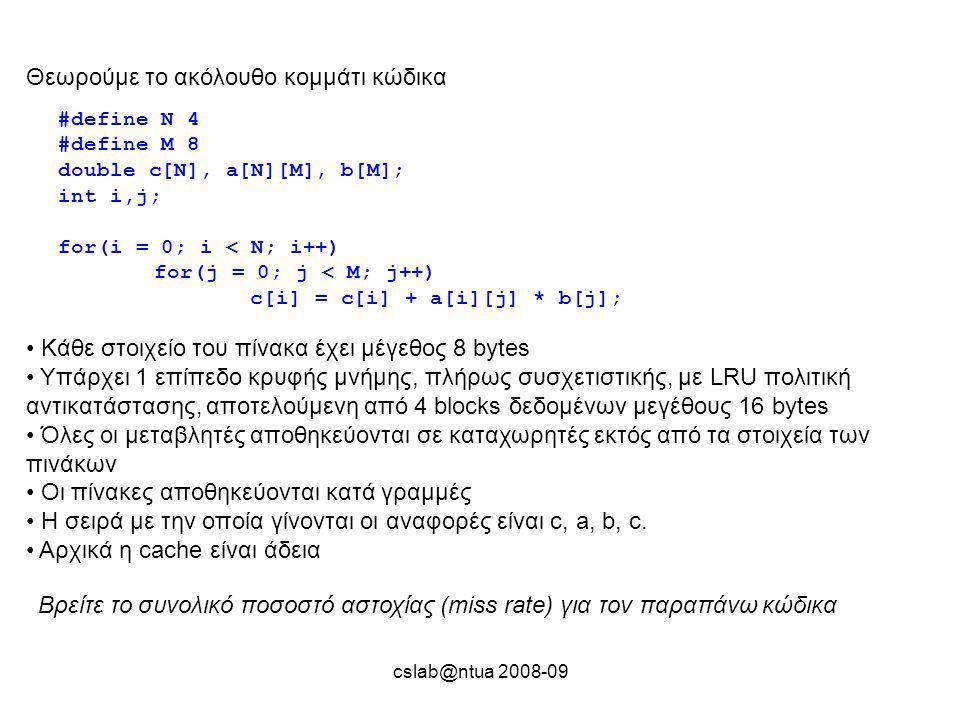 cslab@ntua 2008-09 Θεωρούμε το ακόλουθο κομμάτι κώδικα #define N 4 #define M 8 double c[N], a[N][M], b[M]; int i,j; for(i = 0; i < N; i++) for(j = 0; j < M; j++) c[i] = c[i] + a[i][j] * b[j]; Kάθε στοιχείο του πίνακα έχει μέγεθος 8 bytes Yπάρχει 1 επίπεδο κρυφής μνήμης, πλήρως συσχετιστικής, με LRU πολιτική αντικατάστασης, αποτελούμενη από 4 blocks δεδομένων μεγέθους 16 bytes Όλες οι μεταβλητές αποθηκεύονται σε καταχωρητές εκτός από τα στοιχεία των πινάκων Οι πίνακες αποθηκεύονται κατά γραμμές Η σειρά με την οποία γίνονται οι αναφορές είναι c, a, b, c.
