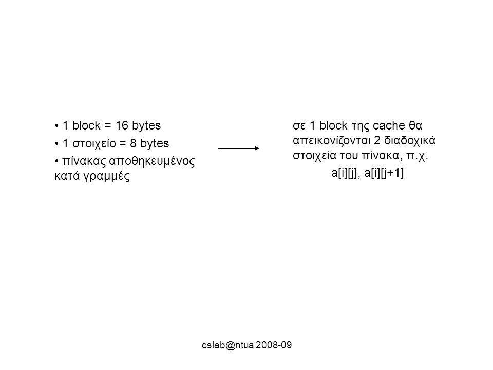 cslab@ntua 2008-09 1 block = 16 bytes 1 στοιχείο = 8 bytes πίνακας αποθηκευμένος κατά γραμμές σε 1 block της cache θα απεικονίζονται 2 διαδοχικά στοιχεία του πίνακα, π.χ.