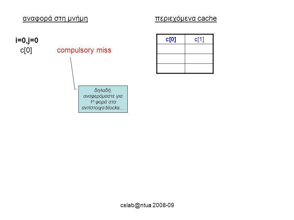 cslab@ntua 2008-09 αναφορά στη μνήμηπεριεχόμενα cache c[0]c[1] c[0] i=0,j=0 compulsory miss δηλαδή, αναφερόμαστε για 1 η φορά στα αντίστοιχα blocks…