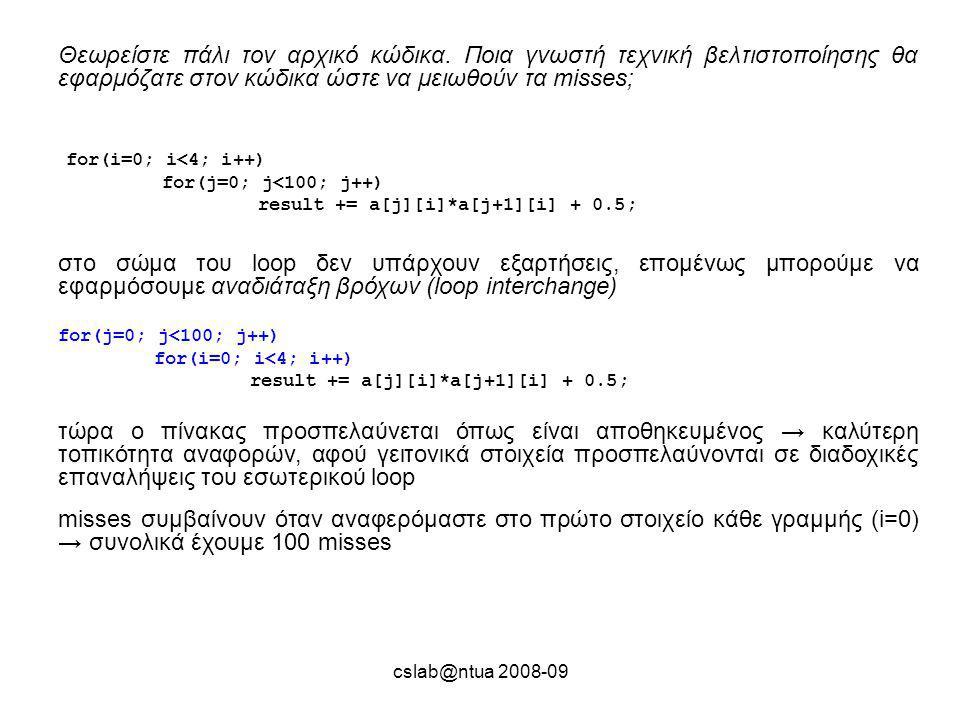 cslab@ntua 2008-09 Θεωρείστε πάλι τον αρχικό κώδικα.