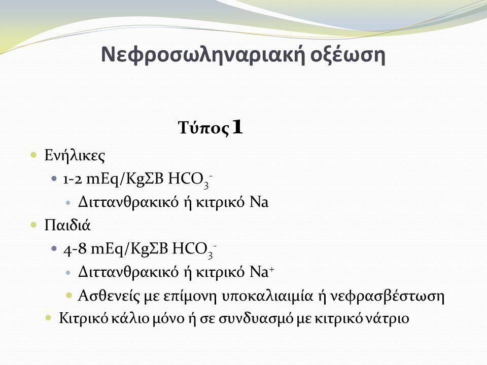 Νεφροσωληναριακή οξέωση Τύπος 1 Ενήλικες 1-2 mEq/KgΣΒ HCO 3 - Διττανθρακικό ή κιτρικό Na Παιδιά 4-8 mEq/KgΣΒ HCO 3 - Διττανθρακικό ή κιτρικό Na + Ασθενείς με επίμονη υποκαλιαιμία ή νεφρασβέστωση Κιτρικό κάλιο μόνο ή σε συνδυασμό με κιτρικό νάτριο