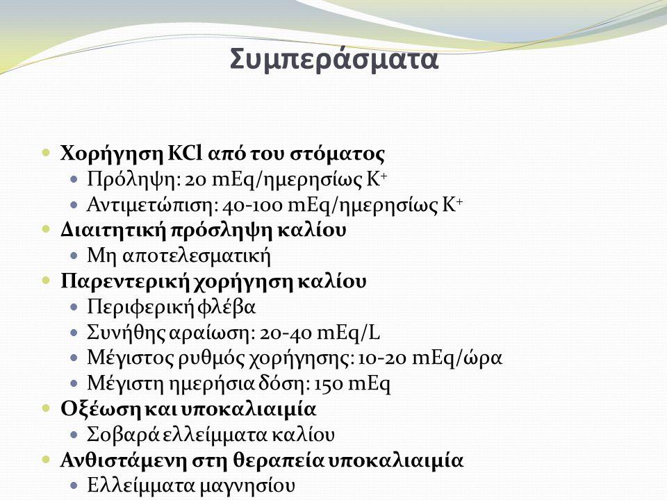 Συμπεράσματα Χορήγηση KCl από του στόματος Πρόληψη: 20 mEq/ημερησίως K + Αντιμετώπιση: 40-100 mEq/ημερησίως K + Διαιτητική πρόσληψη καλίου Μη αποτελεσματική Παρεντερική χορήγηση καλίου Περιφερική φλέβα Συνήθης αραίωση: 20-40 mEq/L Μέγιστος ρυθμός χορήγησης: 10-20 mEq/ώρα Μέγιστη ημερήσια δόση: 150 mEq Οξέωση και υποκαλιαιμία Σοβαρά ελλείμματα καλίου Ανθιστάμενη στη θεραπεία υποκαλιαιμία Ελλείμματα μαγνησίου
