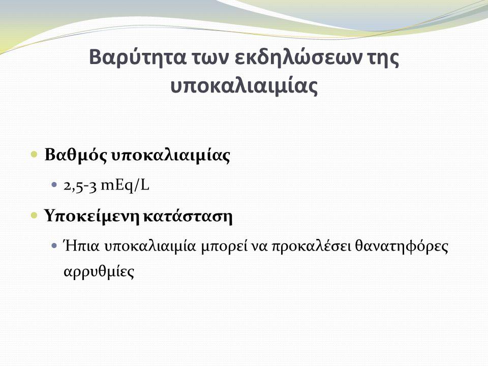 Βαρύτητα των εκδηλώσεων της υποκαλιαιμίας Βαθμός υποκαλιαιμίας 2,5-3 mEq/L Υποκείμενη κατάσταση Ήπια υποκαλιαιμία μπορεί να προκαλέσει θανατηφόρες αρρυθμίες