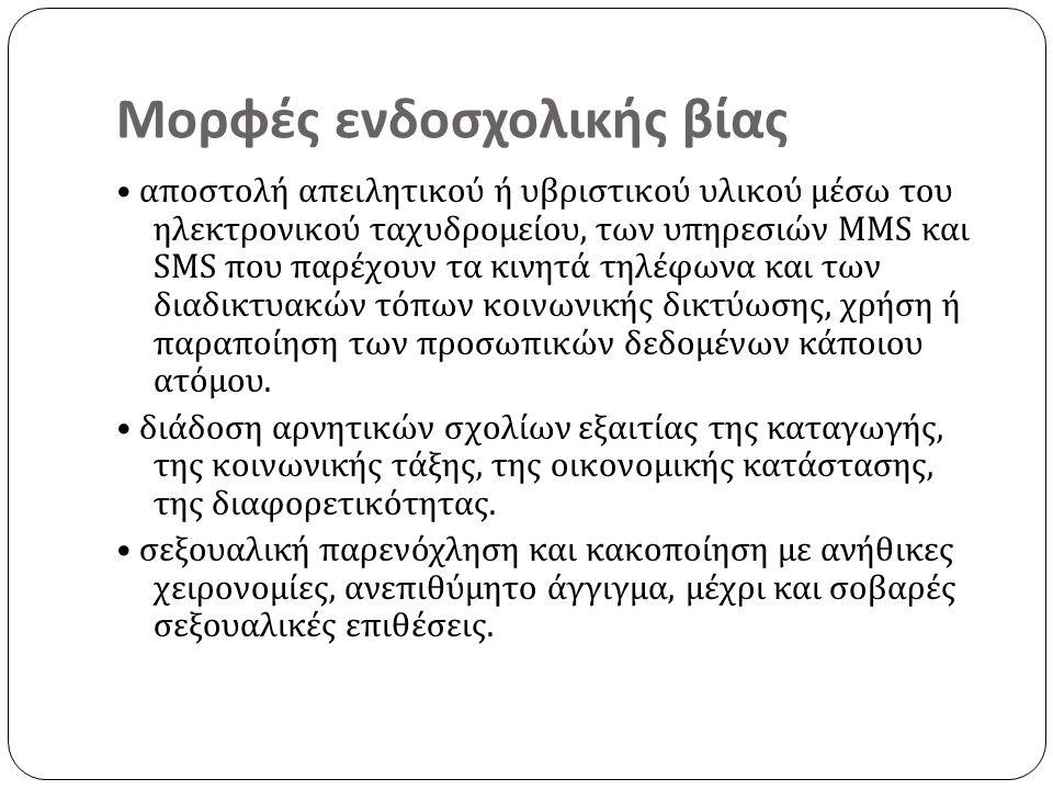 Μορφές ενδοσχολικής βίας αποστολή απειλητικού ή υβριστικού υλικού μέσω του ηλεκτρονικού ταχυδρομείου, των υπηρεσιών MMS και SMS που παρέχουν τα κινητά