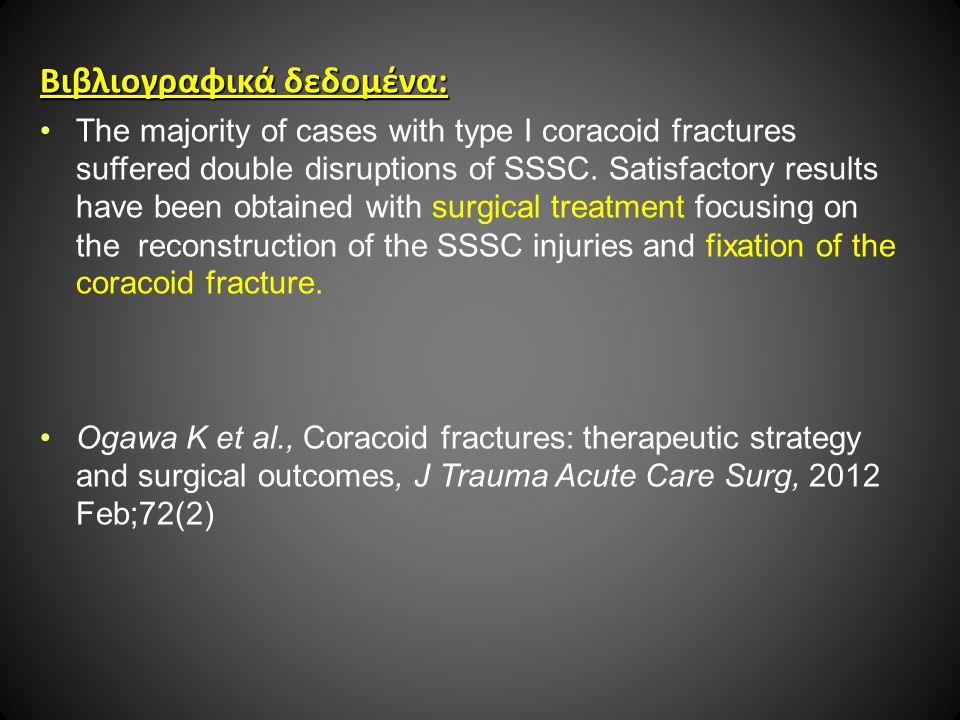 Βιβλιογραφικά δεδομένα: The majority of cases with type I coracoid fractures suffered double disruptions of SSSC.
