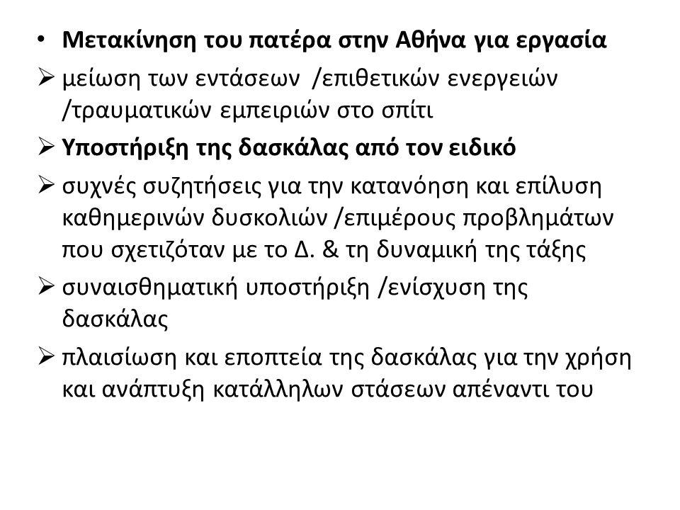 Μετακίνηση του πατέρα στην Αθήνα για εργασία  μείωση των εντάσεων /επιθετικών ενεργειών /τραυματικών εμπειριών στο σπίτι  Υποστήριξη της δασκάλας από τον ειδικό  συχνές συζητήσεις για την κατανόηση και επίλυση καθημερινών δυσκολιών /επιμέρους προβλημάτων που σχετιζόταν με το Δ.