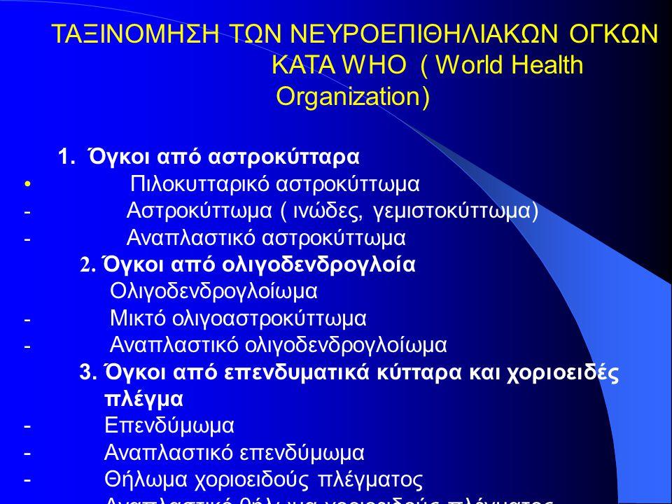 ΤΑΞΙΝΟΜΗΣΗ ΤΩΝ ΝΕΥΡΟΕΠΙΘΗΛΙΑΚΩΝ ΟΓΚΩΝ ΚΑΤΑ WHO ( World Health Organization) 1.