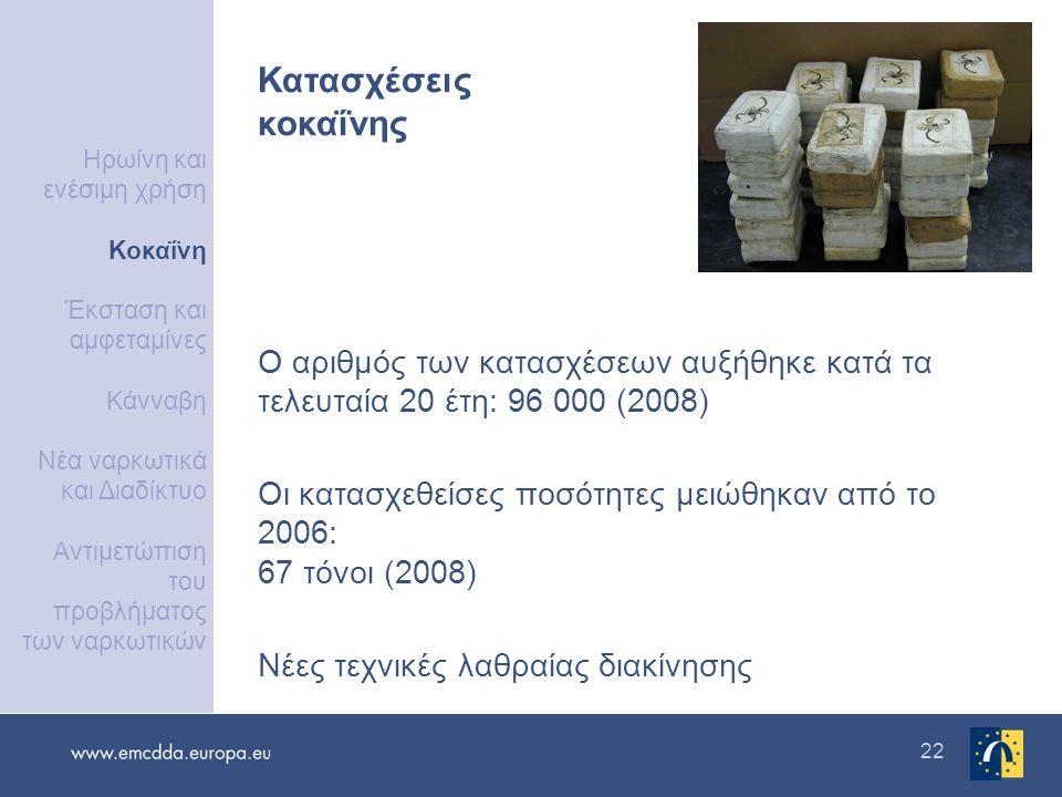 22 Ο αριθμός των κατασχέσεων αυξήθηκε κατά τα τελευταία 20 έτη: 96 000 (2008) Οι κατασχεθείσες ποσότητες μειώθηκαν από το 2006: 67 τόνοι (2008) Νέες τεχνικές λαθραίας διακίνησης Κατασχέσεις κοκαΐνης Ηρωίνη και ενέσιμη χρήση Κοκαΐνη Έκσταση και αμφεταμίνες Κάνναβη Νέα ναρκωτικά και Διαδίκτυο Αντιμετώπιση του προβλήματος των ναρκωτικών