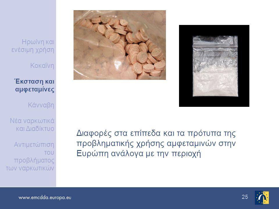 25 Διαφορές στα επίπεδα και τα πρότυπα της προβληματικής χρήσης αμφεταμινών στην Ευρώπη ανάλογα με την περιοχή Ηρωίνη και ενέσιμη χρήση Κοκαΐνη Έκσταση και αμφεταμίνες Κάνναβη Νέα ναρκωτικά και Διαδίκτυο Αντιμετώπιση του προβλήματος των ναρκωτικών