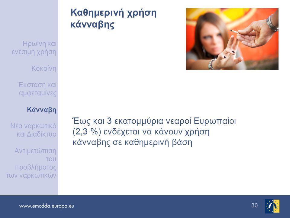 30 Καθημερινή χρήση κάνναβης Έως και 3 εκατομμύρια νεαροί Ευρωπαίοι (2,3 %) ενδέχεται να κάνουν χρήση κάνναβης σε καθημερινή βάση Ηρωίνη και ενέσιμη χ